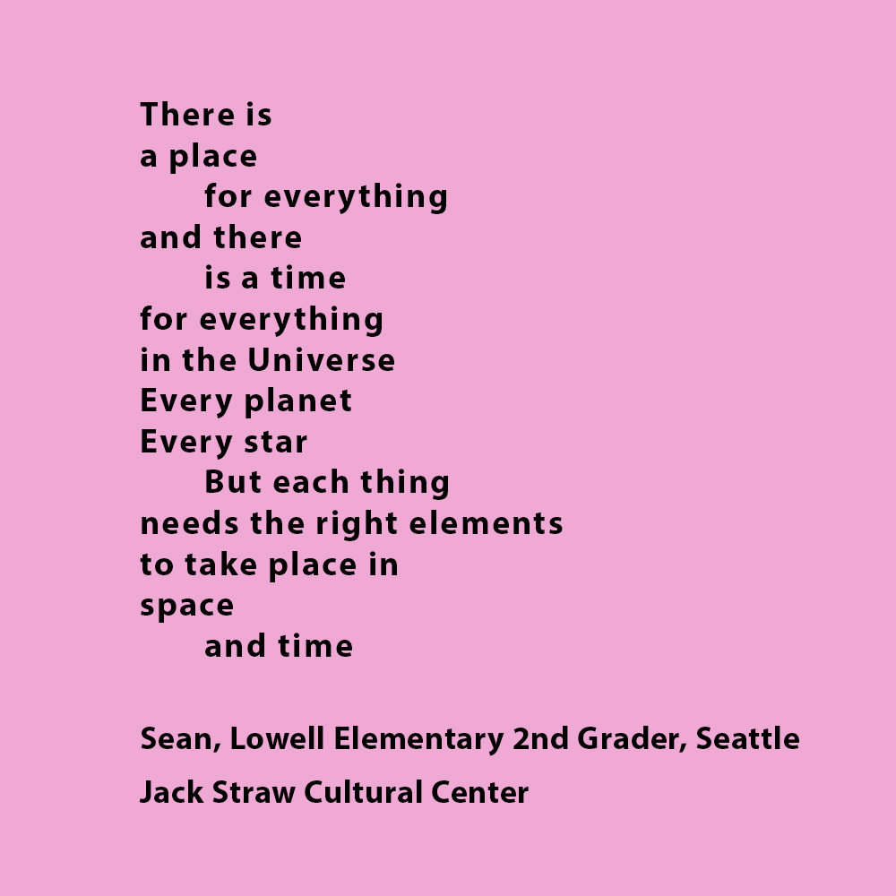 Black bolded text on a light pink background. Text is a poem by  Lowell Elementary 2nd grader, Sean